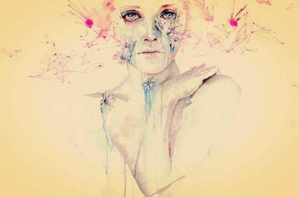 Abstrakt tegning af kvinde med blomster omkring håret