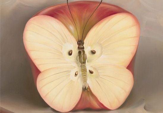 Æble formet som sommerfugl