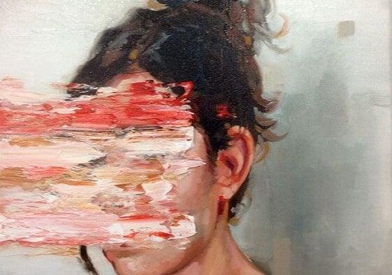 Kvinde med sløret ansigt er plaget af epidemi af angst