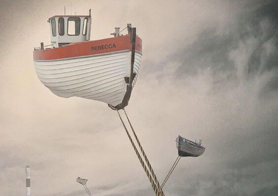 Båd flyver på himlen