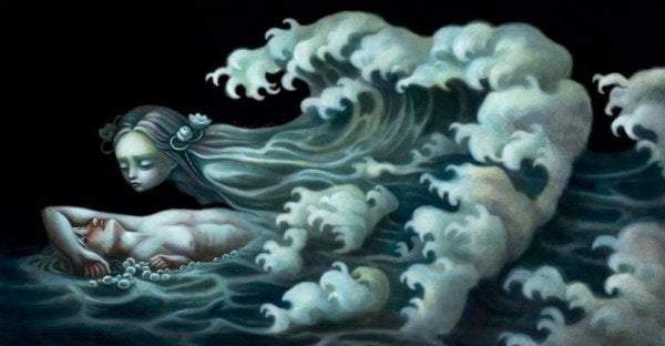 Kvinde på hav er overvældet af bølger i form af følelsesmæssig afhængighed