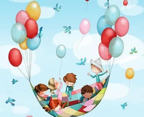 Børn flyver i tæppe med balloner og anvender alternative undervisningsmetoder