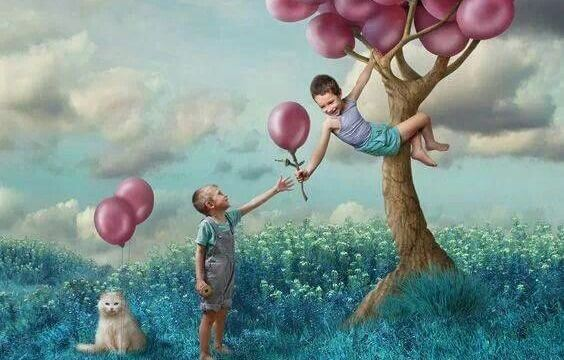 Børn forestiller sig balloner i træer som følge af alternative undervisningsmetoder