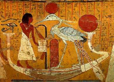 Gammel egyptisk tegning af myten om føniksfuglen