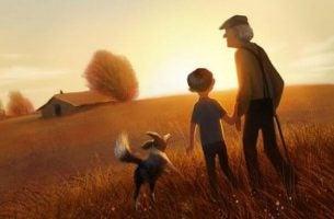 Familie bestående af børnebørn, bedsteforældre, hund