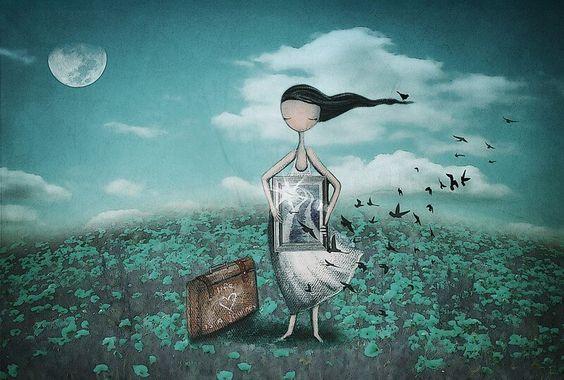 Ensom kvinde står med kuffert og billede