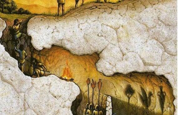 Tegning af Platons grotte