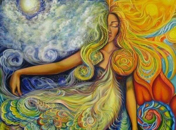 Kvinde med langt hår, sol, himmel og vand har alt, hvad hun har brug for