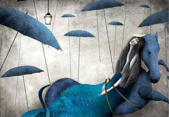 Kvinde bundet til hest med paraplyer over