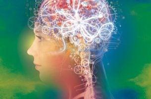 Hjerne med lys og farver viser effekten af positiv psykologi