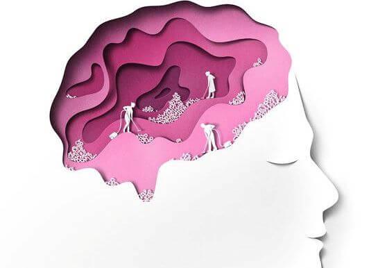 Person med små mænd, der arbejder i hjernen, er plaget af epidemi af angst