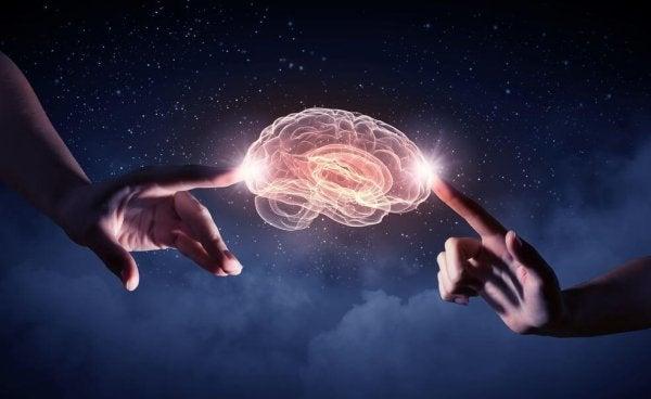 To fingre rører ved hjerne og lyser op