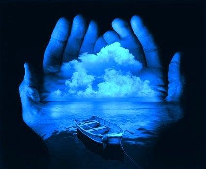 Hænder bærer horisont
