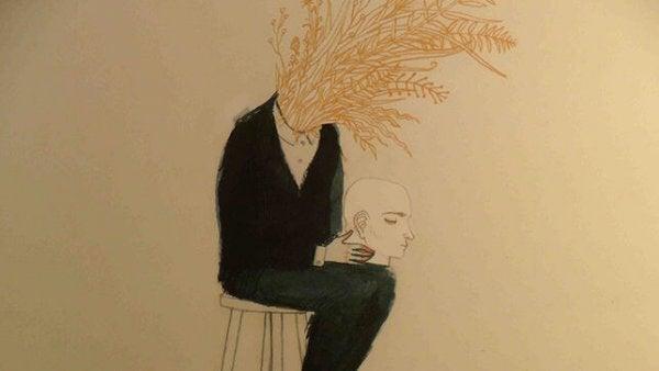 Person med hoved i skød og korn voksende ud af halsen