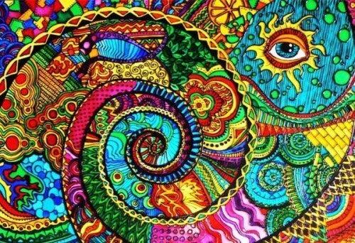 Farverigt billede af hvirvel med øje