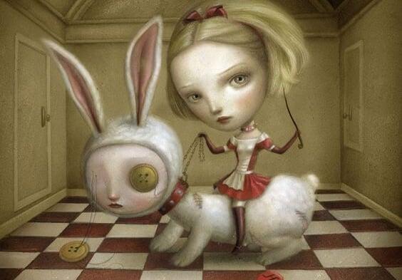 Ond pige ridder på kanin og skaber giftige omgivelser