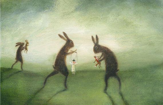 Kaniner, der laver dukketeater, vil styre andre på grund af prokrustes syndrom