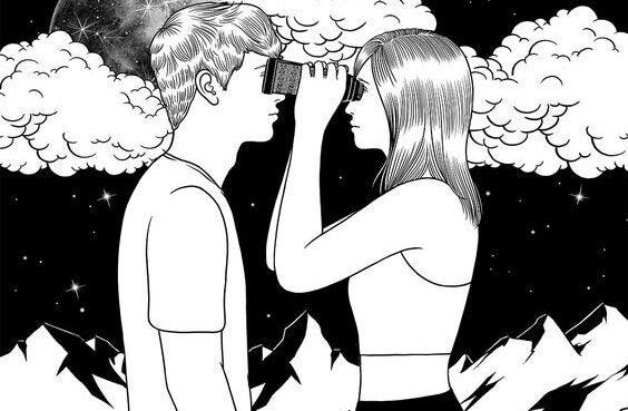 Kvinde ser mand gennem kikkert som følge af umulig kærlighed