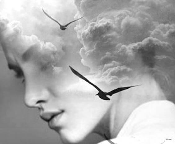 Kvindes ansigt med fugl og skyer foran