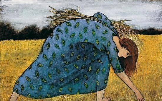 Kvinde på mark er ved at høste