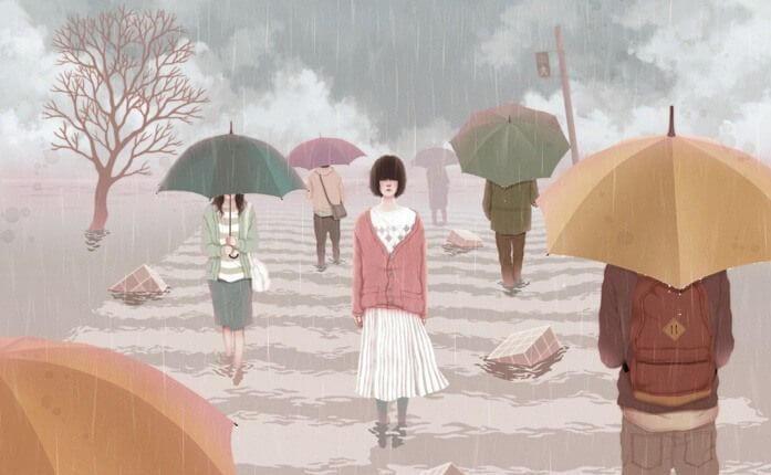Kvinde uden parpaly går i regnvejr