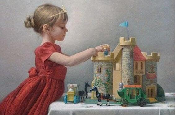 Pige leger med slot