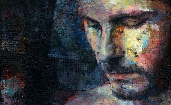 Maleri af trist mand, der ikke kan slukke for negative tanker