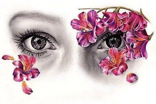 Kvinde med blomster for øjnene som en maske
