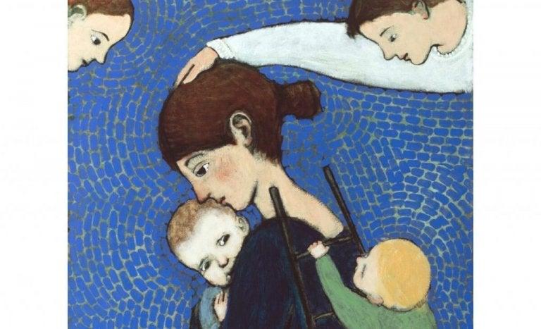 Engle holder hænderne over mødre, der beskytter sine børn
