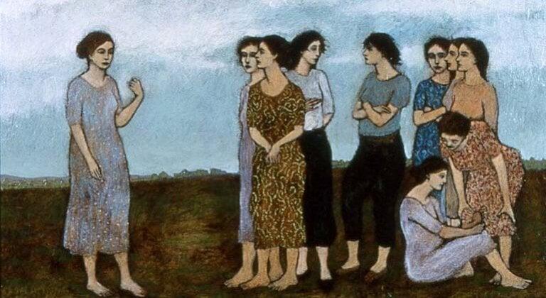 En gruppe mødre på en mark