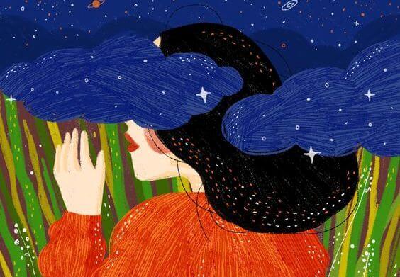 Kvinde i nat med blå skyer