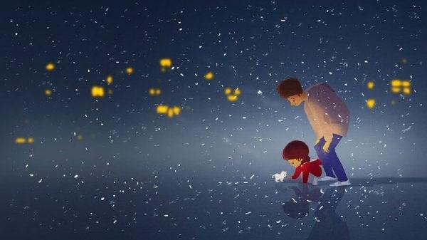 Forældre leger ude om natten for at lære børn om glæde