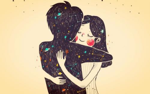 Pige krammer mand lavet af solsystem