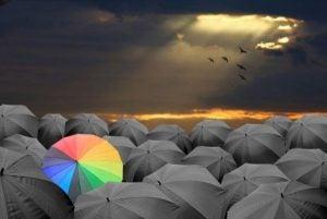 En enkelt regnbuefarvet paraply blandt mange sorte paraplyer