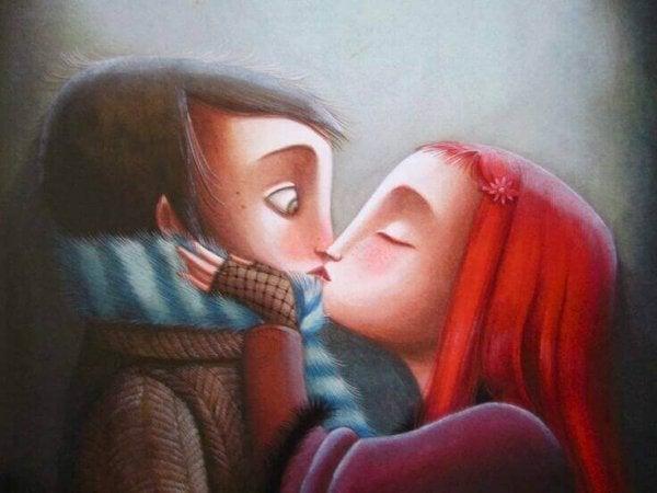 Pige kysser dreng, da hun ønsker at finde sammen igen