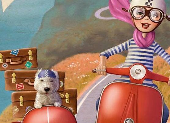 Kvinde med hund på scooter kører væk fra det forkerte job og mod lykken