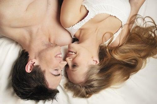 Par ligger i seng og skal til at elske