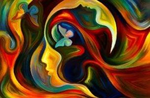 Silhuet af person i mange farver viser et sind fuld af styrke