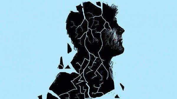 Mands silhuet er krakkeleret på grund af borderline personlighedsforstyrrelse