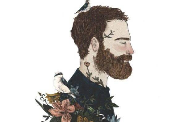Mand med lukkede øjne og skæg er en autentisk person