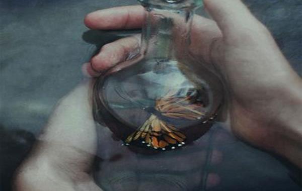Sommerfugl i glasflaske