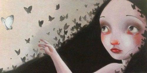 Pige med sommerfugle
