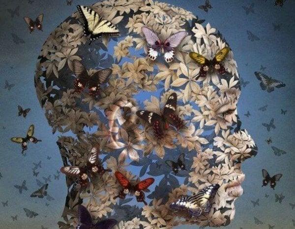 Persons hoved lavet af sommerfugle