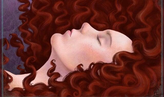 Sovende rådhåret kvinde gemmer sig for vanskelige mennesker