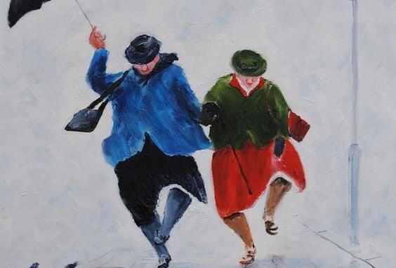 Ældre mennesker danser i regnen