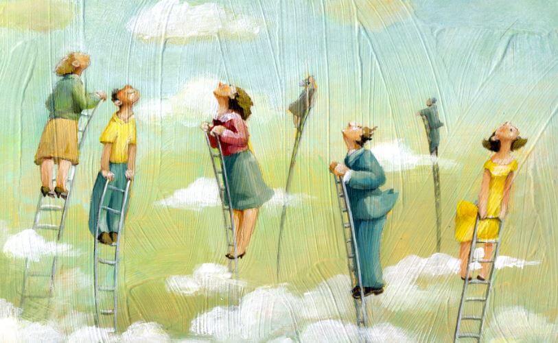 Personer på stiger stræber efter at blive de bedste mennesker