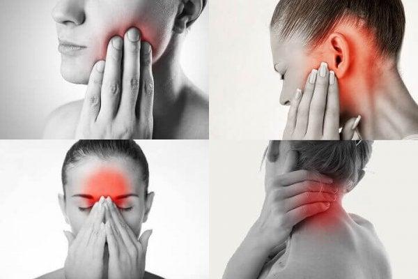 Person med tandsmerter af at skære tænder