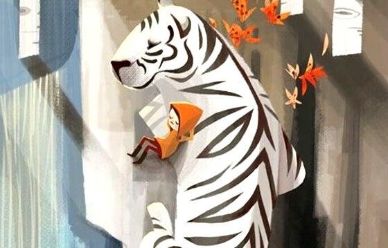 Hvid tiger sammen med barn
