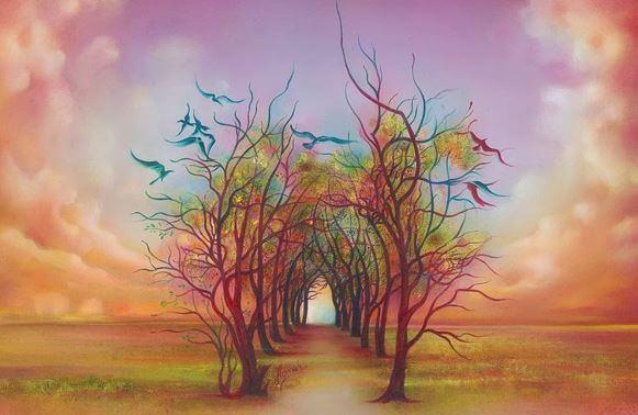 Træ i regnbuefarver