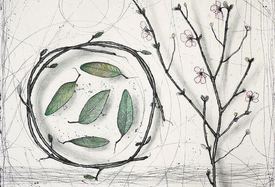 Blade i en cirkel og gren med blomster. Overanstrengelse